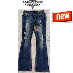 Amethyst Jeans Trumpet Mid Rise  Sz 7 New